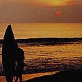 Surfing at Sunset Print by Anonymous