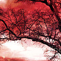 Surreal Fantasy Gothic Red Tree Landscape Poster by Kathy Fornal