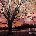 Surreal Gothic Fantasy Trees Pink Sky Ravens Print by Kathy Fornal
