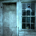 Surreal Gothic Grim Reaper In Window - Spooky Haunted House Reflection In Window Print by Kathy Fornal