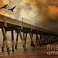 Surreal Haunting Fishing Pier Ocean Coastal Storm Clouds  Print by Kathy Fornal
