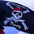 Surrender The Booty Pirate Flag Print by Garry Gay