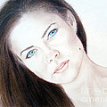 Susan Ward Blue Eyed Beauty with a Mole Print by Jim Fitzpatrick