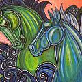 Swimming Horses  Print by Lynnette Shelley
