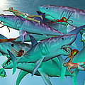 Swimming with the Big Boys Print by Betsy C  Knapp