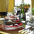 Table Setting With Red And White Print by Works Photography