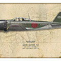 Takeo Tanimizu A6M Zero - Map Background Poster by Craig Tinder