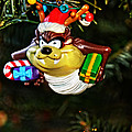 Taz on Christmas Tree Poster by Mike Martin