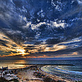 Tel Aviv sunset at Hilton beach Print by Ron Shoshani