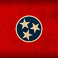 Tennessee State Flag Art on Worn Canvas Print by Design Turnpike