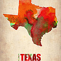 Texas Watercolor Map Poster by Irina  March