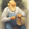 The Basketmaker in pastel Poster by Paul Krapf