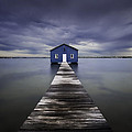 The Blue Boatshed Print by Leah Kennedy