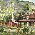 The DeLonde Homestead at Caribou Ranch Print by Anne Gifford