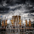 The Friendship Fountain moscow Print by Stylianos Kleanthous
