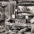 The Garage Sale Black and White Print by JC Findley
