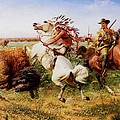 The Great Royal Buffalo Hunt Print by Louis Maurer