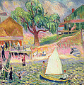 The Green Beach Cottage Print by William James Glackens