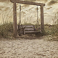 The Lonely Seaside Swing Print by Angie Milam
