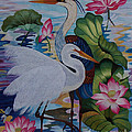 The Lotus Pond hand embroidery Print by To-Tam Gerwe