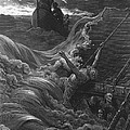The mariner as his ship is sinking sees the boat with the Hermit and Pilot Print by Gustave Dore