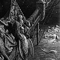 The Mariner gazes on the serpents in the ocean Print by Gustave Dore