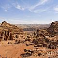 The Monastery and landscape at Petra in Jordan Print by Robert Preston