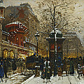 The Moulin Rouge Paris Print by Eugene Galien-Laloue