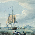The Prometheus and the Melpomene in the Gulf of Riga Print by Thomas Whitcombe