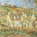 The Red Roofs Corner of a village Winter Poster by Camille Pissarro