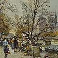 The Rive Gauche Paris with Notre Dame Beyond Print by Eugene Galien-Laloue