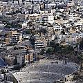 The Roman Theatre in the middle of the city of Amman Jordan Print by Robert Preston