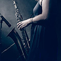 The Saxophonist Sounds In The Night Print by Bob Orsillo