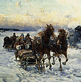 The Sleigh Ride Print by Alfred von Wierusz Kowalski