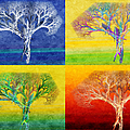 The Tree 4 Seasons - Painterly - Abstract - Fractal Art Poster by Andee Design