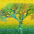 The Tree In Summer At Sunrise - Painterly - Abstract - Fractal Art Poster by Andee Photography