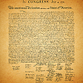 The United States Declaration of Independence - square Print by Wingsdomain Art and Photography