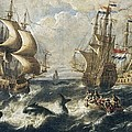 The Whale Fishing. Oil On Canvas Print by Everett
