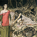The Wooing of Grimhilde the mother of Hagen from 'Siegfried and The Twilight of the Gods Print by Arthur Rackham