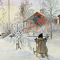The Yard and Wash House Print by Carl Larsson