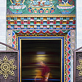 Tibetan Monk and the Prayer Wheel Poster by Tim Gainey