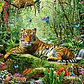 Tiger In The Jungle Print by Adrian Chesterman