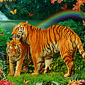 Tiger Love Tropical Poster by Alixandra Mullins