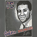 Tim Tebow Portrait Poster by Herb Strobino