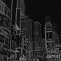 Times Square NYC white on black Print by Meandering Photography