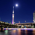 Tokyo Skytree and Light Trails Poster by Duane Walker