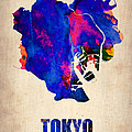 Tokyo Watercolor Map 2 Poster by Irina  March