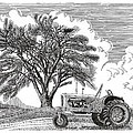 Tractor and Cottonwood tree Poster by Jack Pumphrey