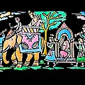 Traditional Indian Ancient Wedding Procession  Emboss Painting Poster by BHAVANA MENON