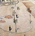 Traffic Island on Boulevard Haussmann Print by Gustave Caillebotte